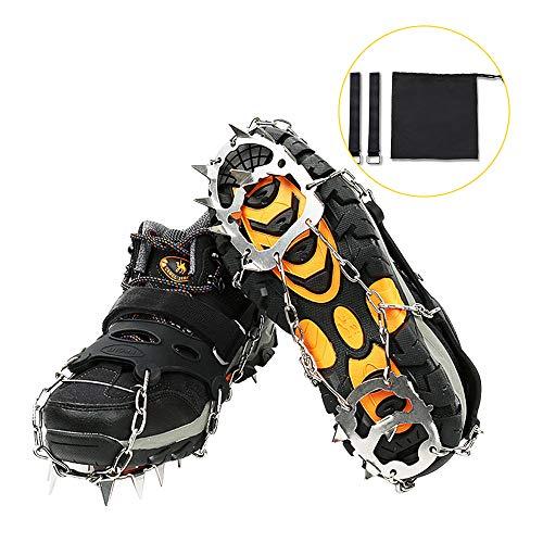Suxman Steigeisen 18 Schuhspikes Doppelkette Edelstahl Steigeisen Spikes Schuhkrallen Eisspikes für Schuhe Wanderschuhe Bergschuhe, Grödel Leicht und Rutschfest, Einsatzbar auf EIS Schnee XL