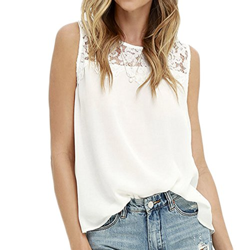 Damen ärmellos Rundkragen Trägerlos Lace Stitching Chiffon T-shirt Top Tops Blusen Oberteile Oberteil Shirt Shirts Weiß