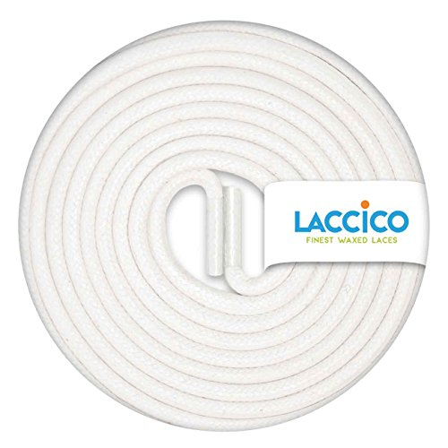 LACCICO Finest Waxed Laces - Durchmesser 2,5 mm, robuste gewachste premium Schnürsenkel; Farbe:Weiß, Länge:60 cm (Weiße Smoking-schuhe)
