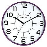 UNILUX 400094285 nicht-tickende Wanduhr POP in violett mit lautlosem Uhrwerk 28,5 cm Ø großes Ziffernblatt ohne Ticken geräuscharm