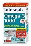 tetesept Omega-3 1000 - Seefisch- und Lachsöl Kapseln/Hochdosierte Omega 3 Fettsäuren DHA, EPA & Vitamin E - Unterstützung des Herz-Kreislauf-Systems/1 x 80 Stück [Nahrungsergänzungsmittel]