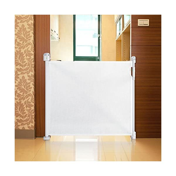 Safetots Advanced Retractable Safety Gate White 0cm - 120cm Safetots Unique, advanced locking system: No need to fully retract each time you walk through gate Screw fitting retractable gate. Retracts fully out of the way when not in use Easy installation (Fittings and Installation Template included) 4