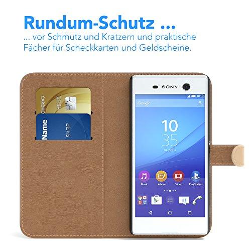 Sony Xperia M5 Hülle - EAZY CASE Premium Flip Case Handyhülle - Schutzhülle aus Leder in Schwarz Hellbraun (Book)