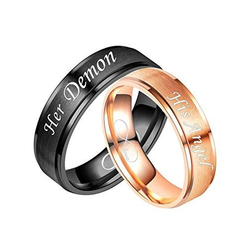 DOLOVE 2 x Bandringe Edelstahl Ring Verlobungsring Gravur Her Demon His Angel Infinity Love Eheringe Schwarz Silber Trauringe Frauen Männer Damen Gr.57 (18.1) & Herren Gr.70 (22.3) - Mens Palladium Eheringe