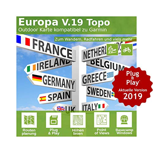 Europa V.19 - Profi Outdoor Topo Karte passend für Garmin Geräte - Komplett Europa Garmin Etrex Legend Gps-system