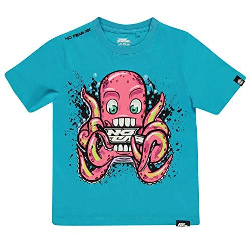 No Fear Jungen T Shirt mit Leuchtende im Dunkeln Grafik Blau Octopus S - Dunkel Blau Grafik T-shirt