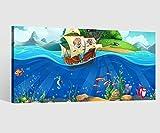 Leinwandbild Meer Pirat Schiff Unterwasserwelt Kat2 Leinwand Bild Kinderzimmer Wandbild Leinwandbilder 9AB2190, Leinwand Größe 1:40x20cm
