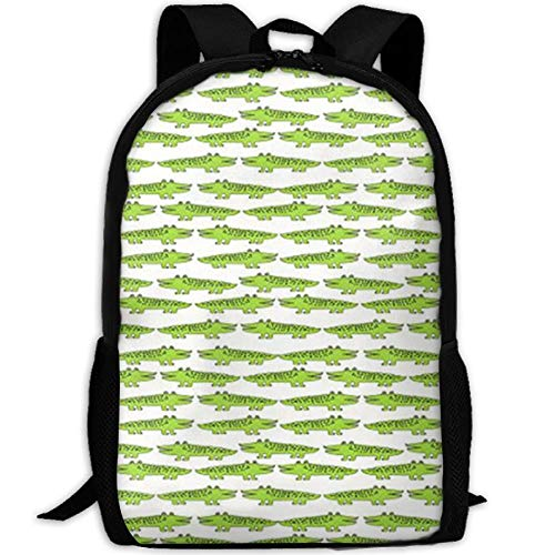 TRFashion Lime Green Mini Alligator Casual Laptop Backpack School Bag Shoulder Bag Travel Daypack Handbag Black Casual Leisure Backpack Swagger Bags Rucksack -