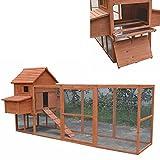 Melko® Hühnerstall XXL Hühnerhaus mit Freigehege, aus Holz, 310 x 150 x 150 cm, inklusvie Rampe + 2 Nestboxen