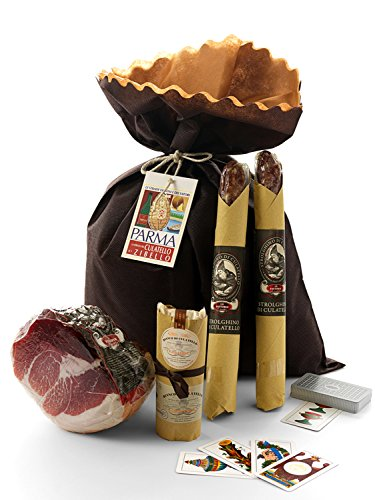 YesEatIs - Geschenkkorb CULATELLO & CO. mit 1 CULATELLO Hälfte Stuck 1,8 Kg, 2 Salame STROLGHINO...