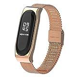 Mijobs Correas de Xiaomi Mi Band 3 Correa Bracelet, Milanese Loop Reloj Pulsera de Ajustable de Acero Inoxidable para Xiaomi Mi Band 3 (No Host) (Milanese Rosa Gold)