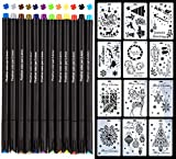 Bullet Journal Schablonen Zubehör, 7 Stück Wandmalvorlage 12 Farbstiften, zum Basteln, Zeichnen und Ausmalen auf Scrapbook-Notizbuch, Tagebuch, Zeichnungshilfen, Scrapbook für Kinder, 0,4 mm (4)