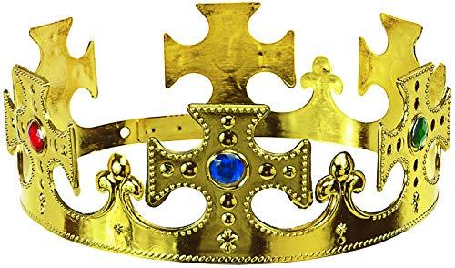 Balinco Krone Kreuz in Gold | Königskrone | Königin | Crown mit farbigen Rubinen besetzt - das perfekte Accessoire für Ihr Königskostüm
