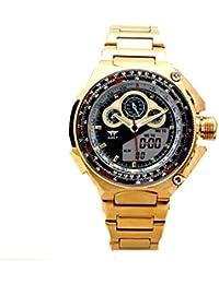 Reloj de oro del reloj del acero inoxidable de los hombres AMST cuarzo digital LED