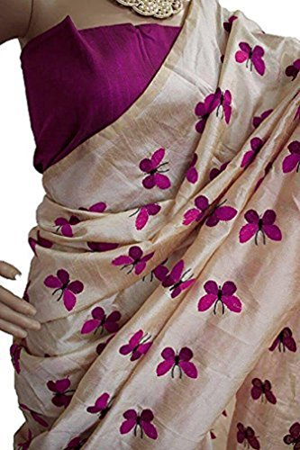 LOC Women's Cream Embroidered Cotton Silk New Collection Party Wear Saree With...