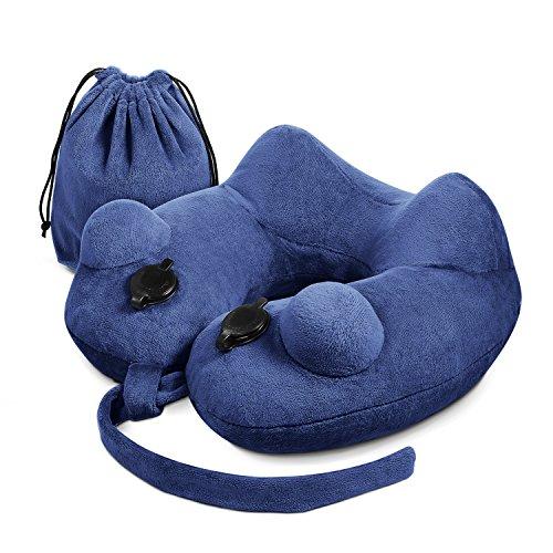 HOMPO Reisekissen Aufblasbares Nackenkissen angenehm weiches Nackenhörnchen für bequemen Schlaf im Flugzeug, Auto, Camping oder Zug, Dualpumpen bläst sich in Nur 10 Sekunden Auf