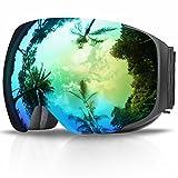 Gafas de Esquí, eDriveTech Máscara Gafas Esqui Snowboard Nieve Espejo para Hombre Mujer Adultos Juventud Jóvenes Chicos Chicas Anti Niebla Gafas de Esquiar OTG Protección UV Magnéticos Esférica Lentes (Negro Marco/Oro Lente)