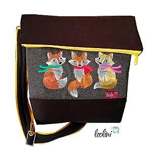 Foldover Tasche Füchse Stickerei handmade Foldovertasche mit Außenfach