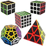 LSMY Speed Cubes 2x2x2 + 3x3x3 + 4x4x4 + Pyraminx + Megaminx, 5 Pack Puzzle Mágico Cubo Carbon Fiber Sticker Toy