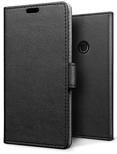 SLEO Alcatel 5V Hülle, PU Leder Case Tasche Schutzhülle Flip Case Wallet im Bookstyle für Alcatel 5V Cover - Schwarz