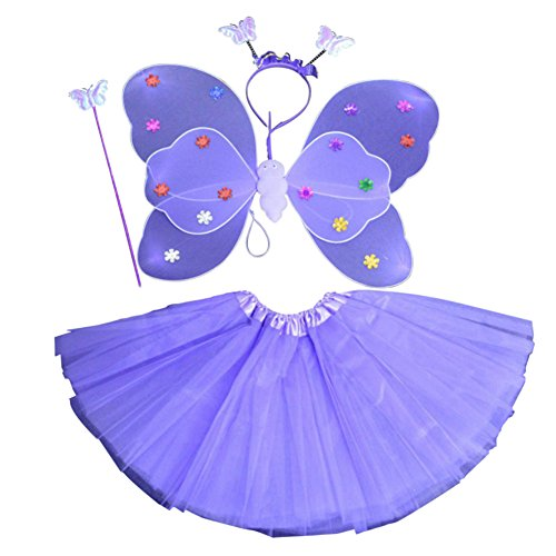 �dchen 4PCS Fee Schmetterling Stirnband Tutu Rock Halloween Party Kostüm Set (Kleinkind-mädchen-halloween-kostüm)