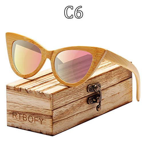 DAIYSNAFDN Holz Sonnenbrille Frauen Bambus Rahmen Cat Eye Stil Brille Polarisierte Gläser Brille Vintage C6