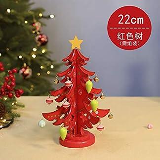 WZR DIY Madera Árbol De Navidad,-Top Mini Árbol De Navidad con Caja De Música Ornamentos Desmontables Soporte De Madera