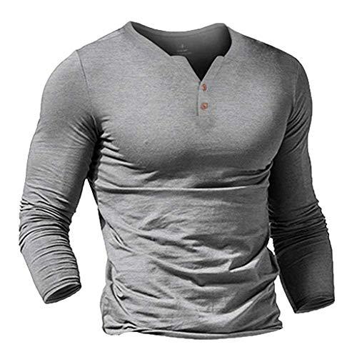 Crewneck Knit Top (BIBOKAOKE Mode Freizeithemden für Herren Langarmshirts V-Ausschnitt Button down hemd Sweatshirts Herren Pullover Sportswear Lange Ärmel Oberteile Tops Bluse)