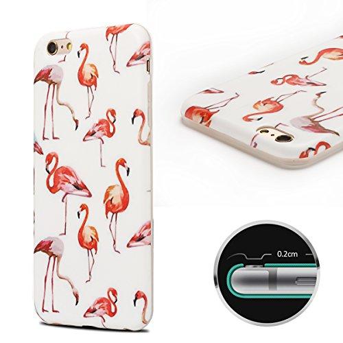 Coque iPhone 6 , Coque iPhone 6S TPU Etui Housse Souple Flexible Ultra Mince Silicone Gel de Protection Case Cover Mode Dessin Motif Cartoon Animaux Mignons Flamingo Vert Modèle pour Apple iPhone 6 /  Flamingo et Blanc