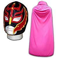 Hijo of the Devil adulto luchador mexicano boxeo mask negro con rosa capa