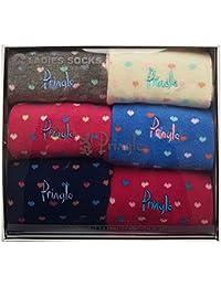 6 Pairs Ladies Pringle Socks Hearts - Boxed: Size UK 4-8 EUR 37-42