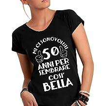 ... 50 anni uomo. Social Crazy T-Shirt Donna Cotone Fiammato Scollo Ampio a  Taglio Vivo - Mi Ci b0733a8aa5f