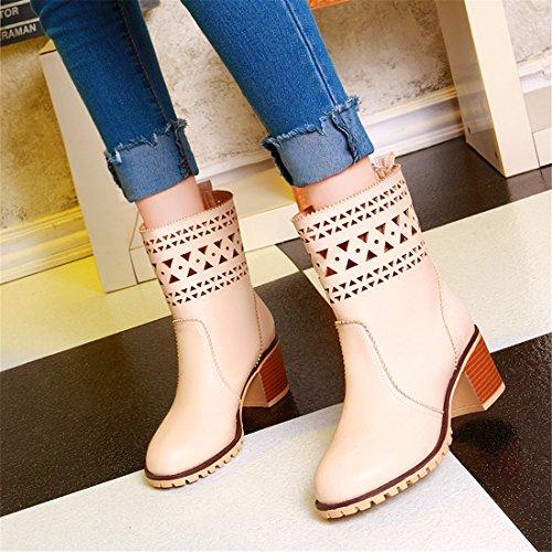 YE Damen Cut Out Stiefeletten mit Blockabsatz 6cm Absatz Fashion Designer Short Ankle Boots Herbst Schuhe Beige