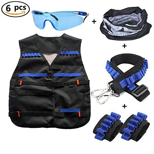 FiYenn Taktische Weste Jacke Kits für Nerf N-Strike mit 1 pcs Schützende Schutzbrillen + 1 pcs Maske + 1 pcs Schultergurt + 2 pcs Hand Armband -
