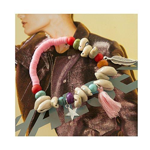 Preisvergleich Produktbild Kiss Me! Original Topmodel Ibiza Hippie Markt Damen Elastisches Armband Anhänger Silberstern Federn Muscheln Perlen Verschiedene Farben