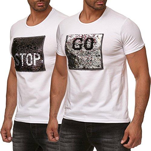 Red Bridge Herren T-Shirt Wende-Pailletten Emoji Stop & Go Shirt Weiß L