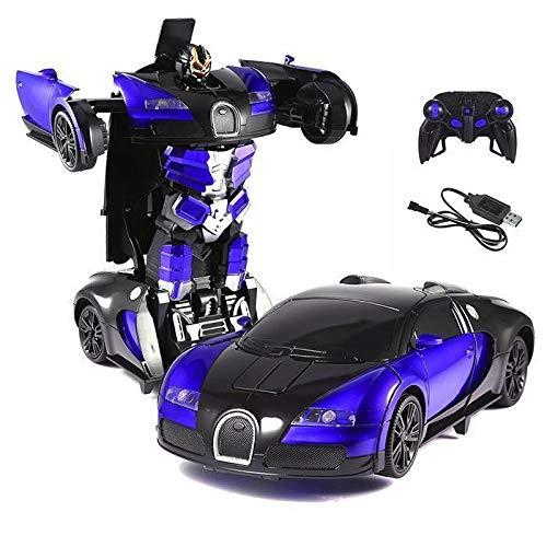 KEPTEI RC Transformator Roboter-Auto Fernbedienung Rennwagen 1:14 Skala mit funktionierendem Lichter, Elektrisch ferngesteuert Fernbedienung Aktion Deformation Figur (Game-controller Für Die Kinder)