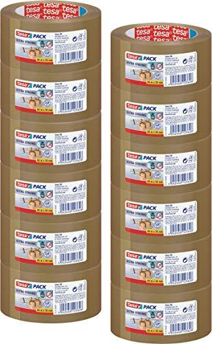 12 Rollen tesa Ultra Strong Packband (aus PVC mit besonders starker Klebekraft, 66 m x 50 mm, 3er Pack) braun