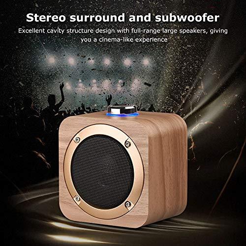 Yimiky Drahtloser Bluetooth Lautsprecher,TWS True Mini Holzlautsprecher Tragbare Aktive Fernbedienung Stereo HIFI Subwoofer 1200mAh Batterie 5W Leistungsstarkes Horn für Indoor Outdoor (Dunkel)