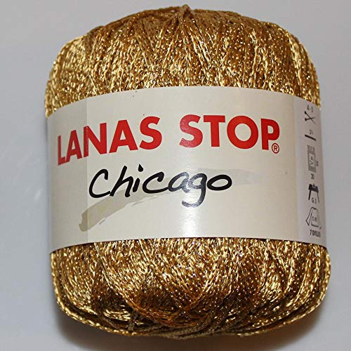 Lanas Stop Chicago hilo brillante metalizado Oro -