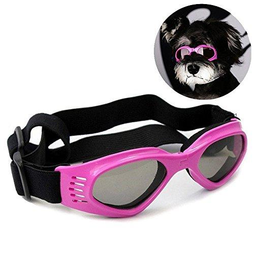 DUBENS Fashion Hundebrille Sonnenbrille wasserdichten Schutz Sun-Brille, UV-Schutz Eyewear Goggles Schutzbrille, Einstellbar Brillen Haustier, Geeignet für mittlere und kleine Hunde (Rosa)