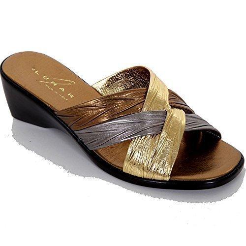 Fantasia Boutique pour femmes Sangle croisé basse à enfiler compensé Confortable Femmes Chaussures sandales de mode Or
