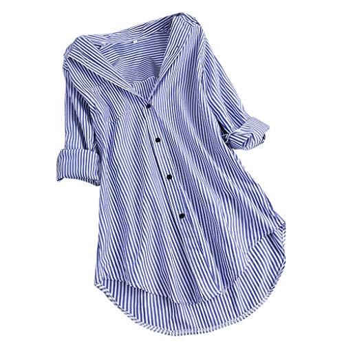 OSYARD Hemd Damen Blusen Elegante Knopf Langarm Bluse Tunika Oberteile T-Shirt V-Ausschnitt Tops Gestreiftes Shirt Oversize Tunika Tops