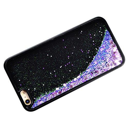 Sunroyal Liquide Crystal Case pour iPhone 6 / 6S (4,7 pouces) Souple TPU Silicone Coque,Bling Glitter Flux Transparent Etui Housse Sparkle Paillette Cristal soft Plastique Fluide Liquide Dur Plastic B Violet