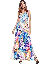 8703bbf4b9 Easy Go Shopping Vestidos Mujeres Verano Estampado Floral Vestido Largo de Playa  Sexy sin Espalda con Cuello en V Split Boho Sundress Maxi…