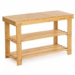 SONGMICS Schuhregal, Schuhschrank mit Sitzbank, Bambus Schuhbank mit 3 Ablagen, 70 x 28 x 45 cm ideal für Flur, Bad, Wohnzimmer, Diele LBS04N