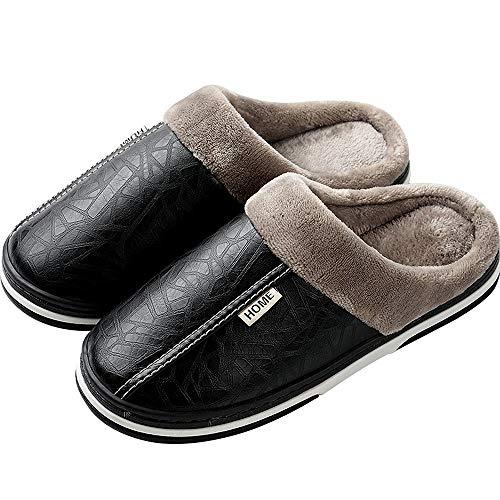 Zapatillas de Estar por casa para Mujer Impermeables de PU Pantuflas Térmicos de Invierno Suave Algodón...