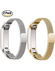 Para Fitbit Alta HR y Alta Band, 2 Paquetes Adjustable Mesh Loop Milanese Acero Inoxidable Replacement Watchband Accesorio Pulsera Correa con cierre magnético Cierre por AumoToo (Plata + Oro)