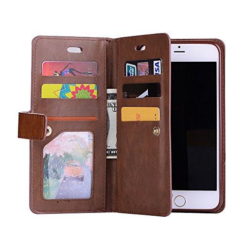 iphone 7 Hülle, iphone 8 Schutzhülle, E-lush Flexibler PU Leder Hüllefür iphone 7 8 (4,7 Zoll), Multi-function Wallet Case Hülle mit Kartenfächern und Münzfächern Retro Einfarbig Muster Design Lederhü Braun