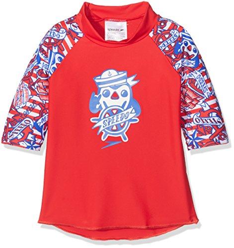 Speedo Baby Space Traveller Essential Suntop Swimwear, Risk Red/Beautiful Blue/White, 6-9